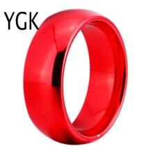 Ygk joyería 8mm ancho cúpula de color rojo anillo de bodas de carburo tungsten