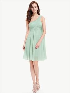 Image 4 - [Czyszczenie magazynu wyprzedaż] sukienki koktajlowe kiedykolwiek dość HE03537 jedno ramię Ruffles wyściełane szyfonowe krótkie Vestido 2018 sukienki koktajlowe