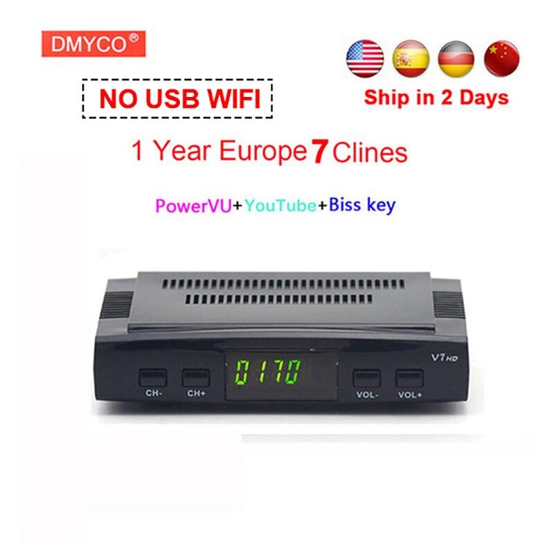1 Jahr Europa clines server DVB-S2 V7 HD Rezeptor satellite Decoder Unterstützung USB WIFI 1080 p HD youtube Powervu satellite empfänger