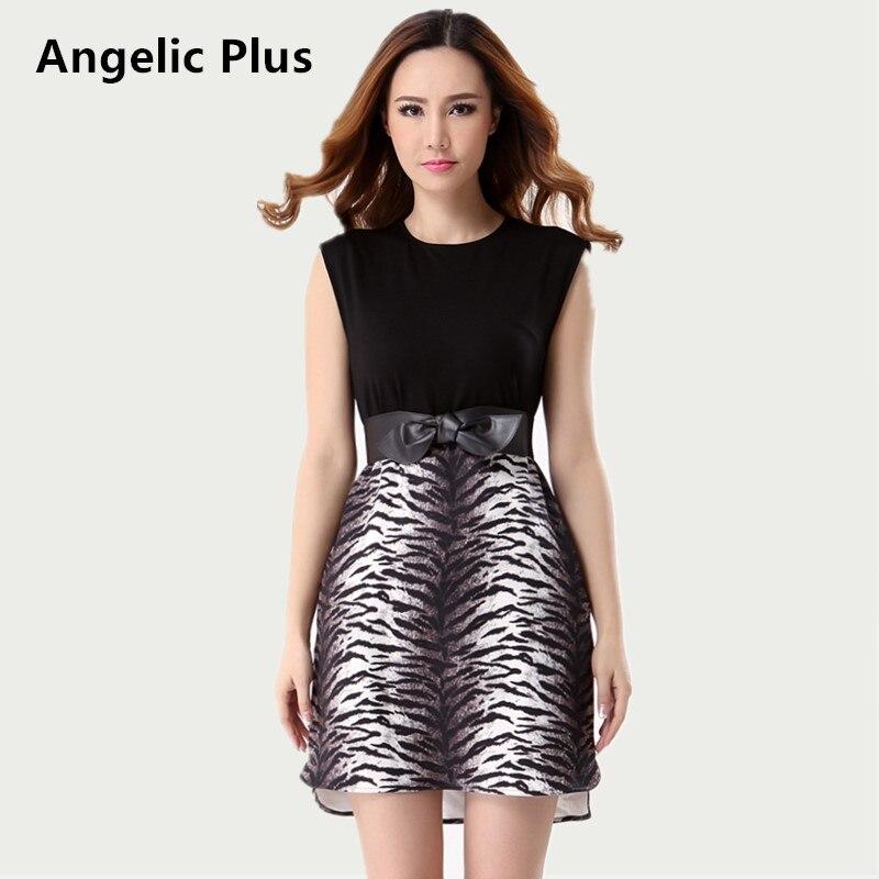 2018 Plus size Summer Women Short Dress Girl's Sleeveless Leopard Printed Mini Dress Lady's Beach Casual Dress clearance sales