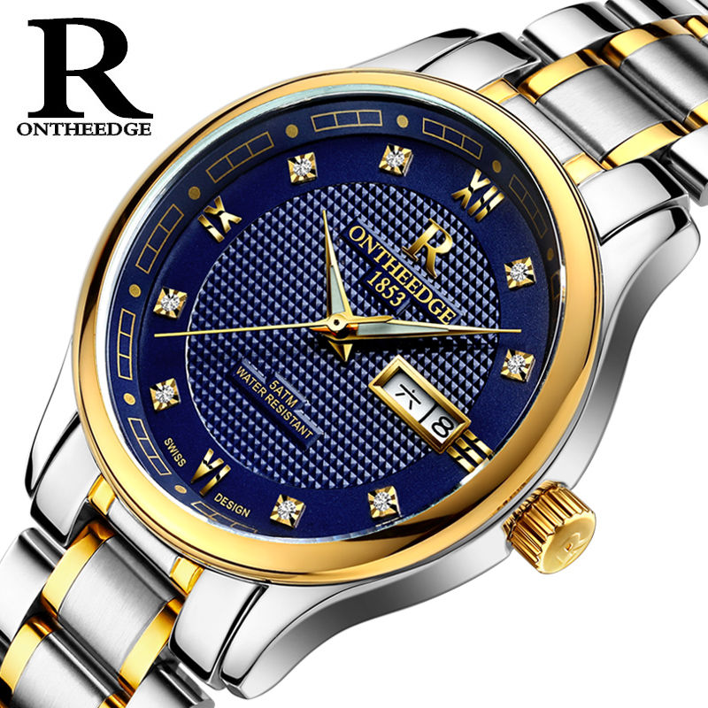 ONTHEEDGE Original Brand Watch Men Automatic Self-wind Stainless Steel watch 3atm Waterproof Business Men Wrist Watch TimepiecesONTHEEDGE Original Brand Watch Men Automatic Self-wind Stainless Steel watch 3atm Waterproof Business Men Wrist Watch Timepieces