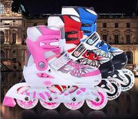 NEW Kids Children Professional Inline Skates Skating Shoes Adjustable Washable Flash wheels Sets Helmet Protector Knee Pads Gear