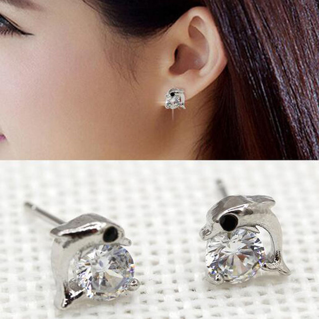 Kids Jewelry Small Mini White Gold Color Cubic Zirconia Cz Cute Dolphin Animal Stud Earrings