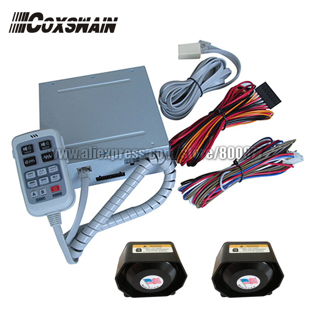 (PA-630) 300W Electronic Siren Amplifier,  2 light switches/ 9 tones, Dual channel PA system (include 2 speaker)