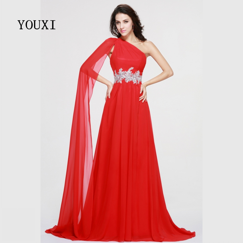 Sexy One Shoulder Red   Prom     Dresses   2019 New Chiffon Appliqued Crystal Formal Evening Gowns PD61