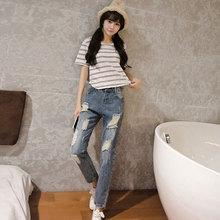 Южная Корея колени рваные джинсы женские девять брюки свет свободные брюки талии брюки ноги нищий Харен досуг
