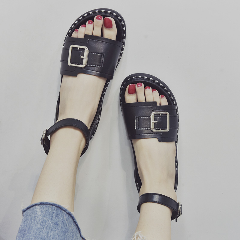 Women Sandals 2018 Fashion Summer Shoes Woman Rome Ankle Strap Flat Sandals Casual Peep Toe Gladiator Sandals Low Heel Shoes new 2018 women open toe flip flops fashion ankle strap gladiator sandals women big size 34 43 ladies casual flat rome sandals