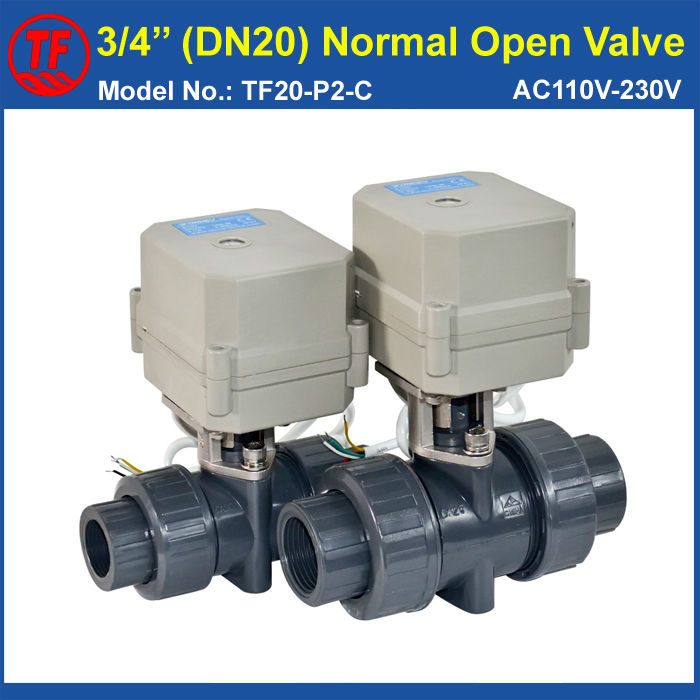2 Wires DN20 PVC Normal Open Valve TF20-P2-C BSP/NPT 3/4'' AC110V-230V 10NM On/Off 15 Sec Metal Gear For Water Application CE pvc 11 2 normal open valve tf40 p2 c ac110v 230v 2 wires 2 way dn40 bsp or npt thread 10nm on off 15 sec metal gear ce ip67