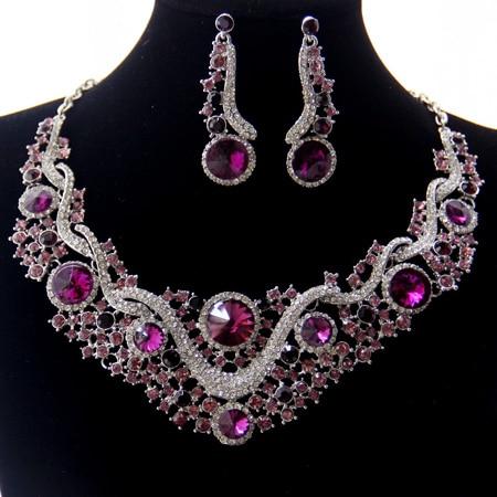 b0214e071 Luxury Rhodium Plated Purple Crystal Wedding Accessories Jewelry Wholesale  Fashion Costume Bridal Jewelry Sets For Women