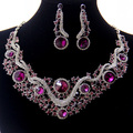 Luxury Rhodium Plated Purple Crystal Wedding Accessories Jewelry Wholesale Fashion Costume Bridal Jewelry Sets For Women