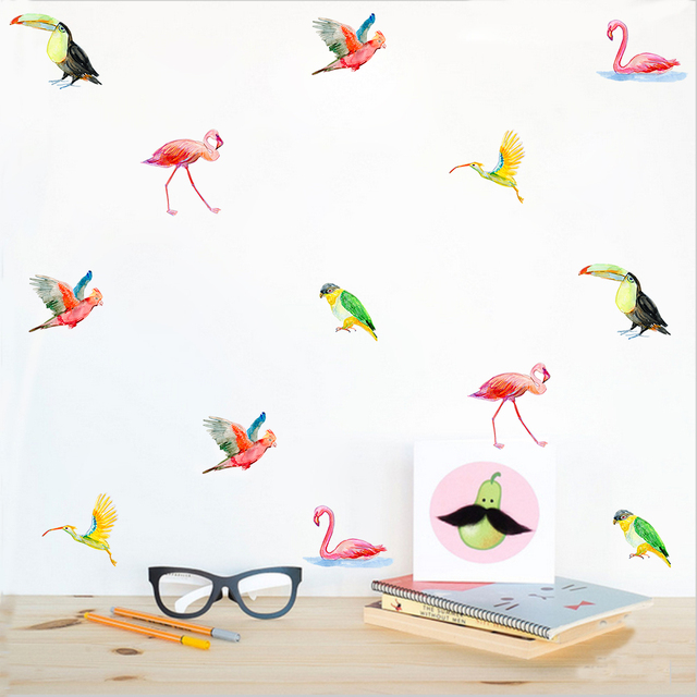 Funlife 1 lot6sheets 36pcs watercolor tropical birds decals wall sticker art wall poster decal
