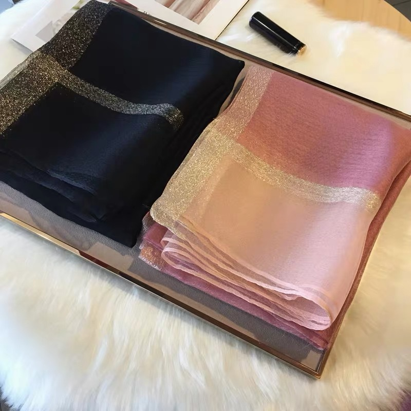 Silk Scarf Women Spring And Summer Water Ripple Gold Line Solid Color Long Scarf Female Shawl Hair Scarf Hijab Scarf