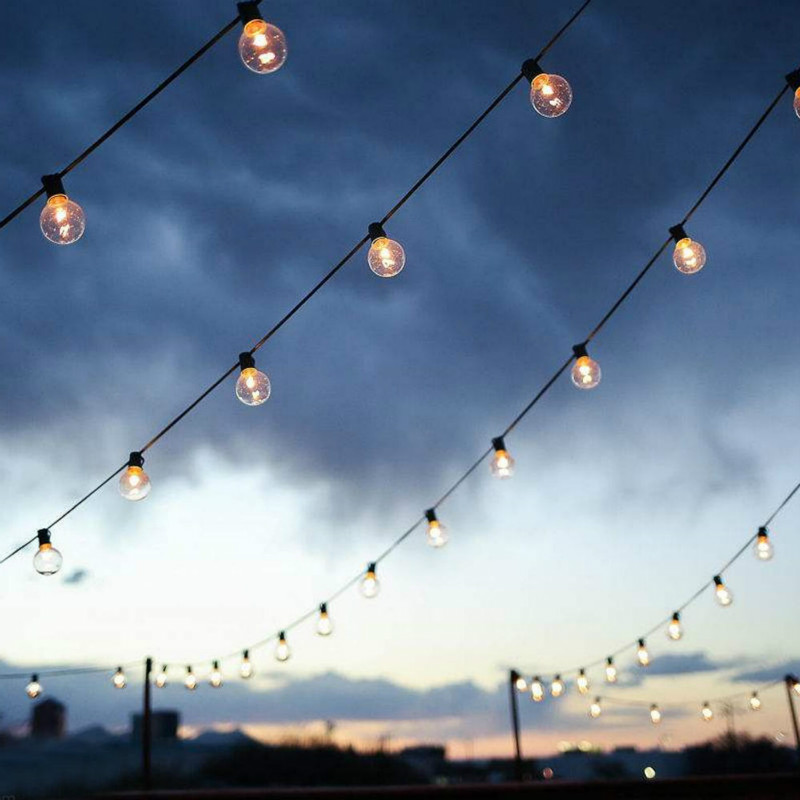 15M US Plug E26 E27 Outdoor Warm White 15LED Bulbs Rubber Wire String Holiday Light AC110 in Holiday Lighting from Lights Lighting