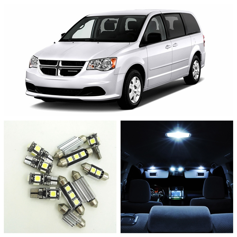 14pcs Canbus White Car LED Light Bulbs Interior Package Kit For 2008-2015 Dodge Grand Caravan Map Dome Door License Plate Lamp 15pcs white canbus error free car led light bulbs interior package kit for 2002 2003 2004 audi a4 b6 map glove box door lamp