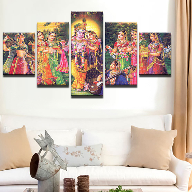 Us 3 71 40 Off Hd Print Canvas Painting Picture Stick On The Wall 5 Panel India Myth Lord Krishna Painting Vishnu For Living Room Home Decor In