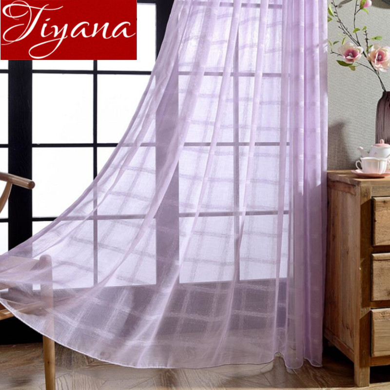 Purple Curtains Plaid Modern Window Living Room Curtains Balcony Curtians  Tulle Sheer Fabrics White Cortinas Rideaux