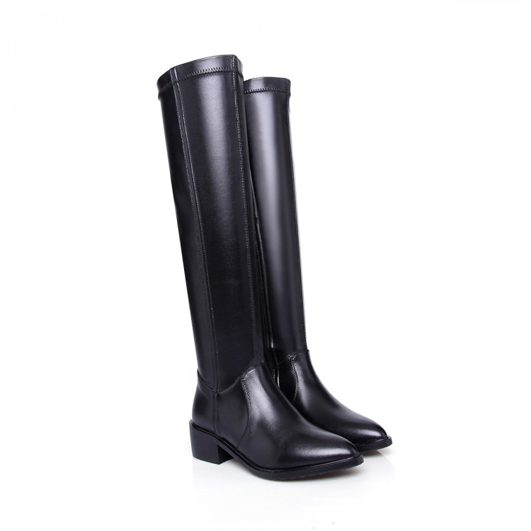 ФОТО 2015 Women Platform flat  Pointed Toe Knee High Genuine leather Motorcycle Riding winter long boots Botas zapatos mujer big size