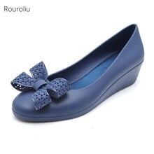 Rouroliu Women Round Toe Bowknot Jelly Rain Shoes Non-Slip Wedges Beach Sandals Waterproof Casual Woman FR108