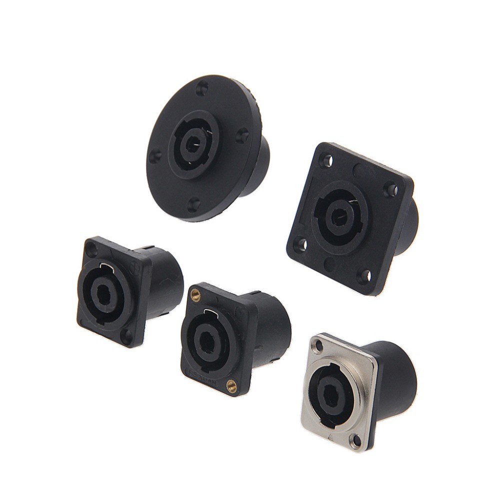 A/B/C/D/E 4 Pin Female Jack Compatible Audio Cable Panel Socket Connector Black Color ...