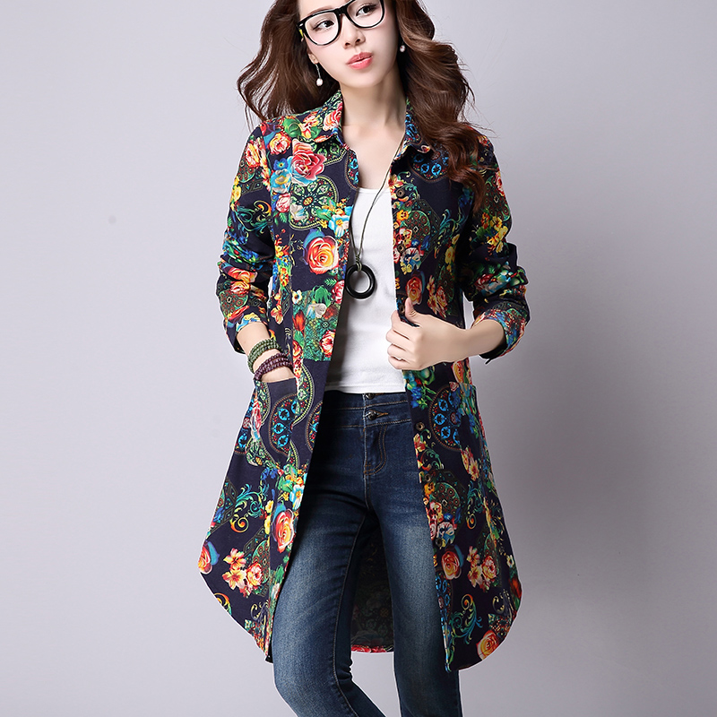 b0a8e175f7161 Mujeres Otoño 2016 estampado Floral botón largo Camisas Blusas de mujeres  femenina camisa de manga larga Mujer Plus tamaño ropa de las mujeres en  Blusas y ...