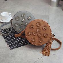 2019 Women Leather Shoulder Bags Adjust Straps Circular Handbags Fashion Floral Tassels Crossbody Mini Round Bag