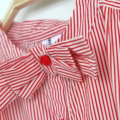 c270fa9966236 Red   White Striped Kids Girls Shirts Top with Bow 2018 Summer Girls  Blouses and Shirts Teenage Girls Casual Shirts Clothes-in Blouses   Shirts  from Mother ...