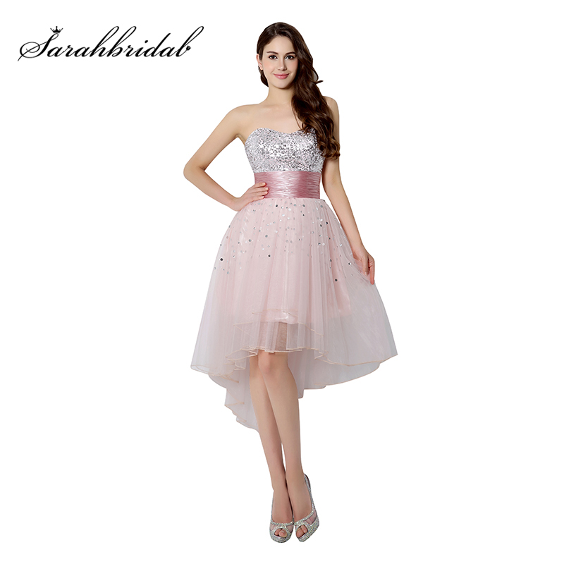 Shining Sequined Blush Graduation Dresses High Low 2019 Tulle Swwetheart Satin Belt Homecoming Gowns Girls Party