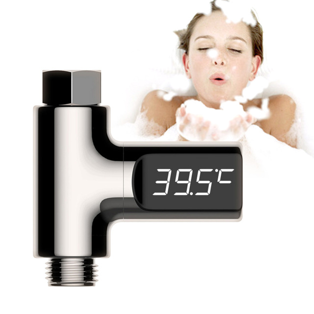 LED Flow Water Temperture Monitor No Battery Digital Shower Thermometer Easy Use Baby Bathing Accessories Kids Faucet Extender