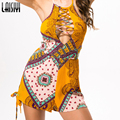 Laisiyi Summer Sexy Boho Print Jumpsuits Hanging Neck Floral Playsuit Shorts Rompers Women Bodysuit Overall Bodysuits ASJU20044