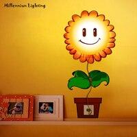 Обои 3D Бра Творческий светодиодный свет мультфильм детей DIY стикер освещения малыш подарок подсолнечника украшения светильники