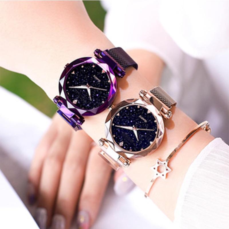 Ladies Magnetic Starry Sky Clock Fashion Diamond Female Quartz Wristwatches Luxury Women Watches Relogio Feminino Zegarek Damski