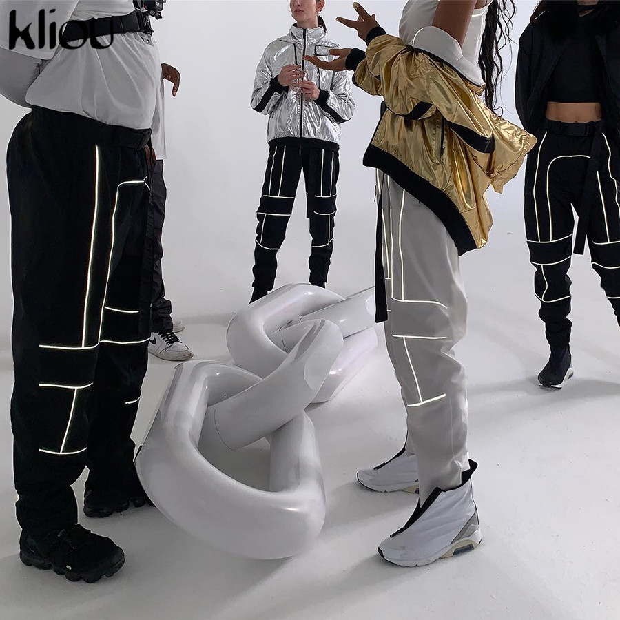 HTB1BKEUainrK1RjSsziq6xptpXaZ - Kliou women fashion street Reflective patchwork cargo pants 2019 new arrival zipper fly with sashes pockets knitted trousers