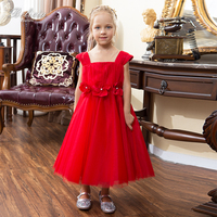 Belicia Couture Red Flower Girl Dresses Flower Appliques Bow Belt Pageant Gown Cap Sleeves Evening Flower