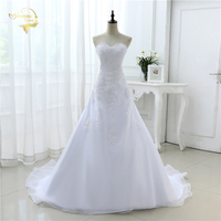 2018 New Arrival Hot Wedding Dresses Elegant Organza Applique Beading Vestidos De Novia Plus Size Beach Bridal Gowns 39001231