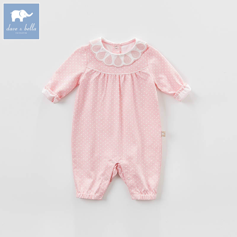 DBM7142 dave bella spring new born baby cotton romper infant clothes girls pink cute dots romper baby 1 piece db5033 dave bella summer new born baby unisex rompers cotton infant romper kids lovely 1 pc children romper