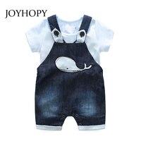 JOYHOPY Newborn Infants Baby Boys Clothes Rompers Denim Overalls Whale Baby Clothes Sets 2PCS