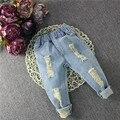 2016 outono nova calça jeans crianças jeans rasgado calças calças dos miúdos das crianças calças de brim roupas crianças C-BC-K276