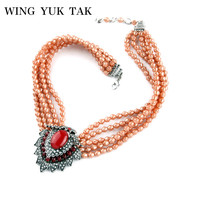 Wing Yuk Tak 2018 Brand Jewelry Simulated Pearl Necklace Elegant Handmade Vintage Water Drop Luxury Statement