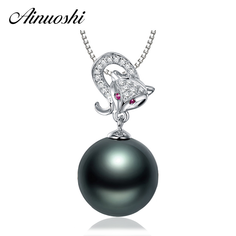 AINUOSHI 925 Sterling Silver Animal Fox Shaped Red Eyes Necklace Pendant Black Cultured Pearl Tahiti 10mm Round Pearl Pendants
