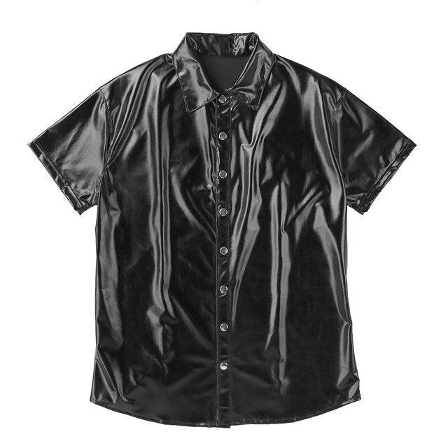 Męskie bielizna lateksowa T-Shirt ze skóry lakierowanej z krótkim rękawem podkoszulek gorąca seksi koszulka topy Clubwear egzotyczne koszulka na ramiączkach najlepszy kostium