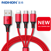 NOHON Nylon USB Charging Cable 3 in 1 For iPhone 7 8 X XS MAX XR Micro Type C Android Phone Charge Cables Samsung Xiaomi