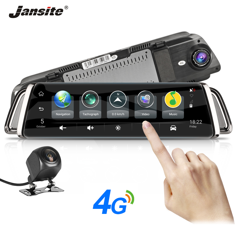 Jansite 10 Touch Screen 4G WIFI Smart Car DVR Android Stream Media View Mirror Dual Lens