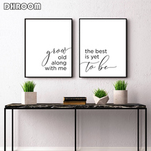 Couple Canvas Prints Lover Quote Painting Grow Old Along with Me The Best Is Yet To Be Poster Art Wall Picture Bedroom Decor