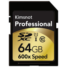 Kimsnão cartão de memória sdxc profissional, 64gb 128gb 256gb 16gb 32gb cartão sd sdhc c10 alta velocidade 90 mb/s 600x para nikon canon