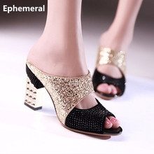 Feminina 's 3.34″ Bling Glitter Plus size 34-43 Wedges Peep Toe Square High heels Shoes Womens Pumps Matching Shoes and Bag Sets