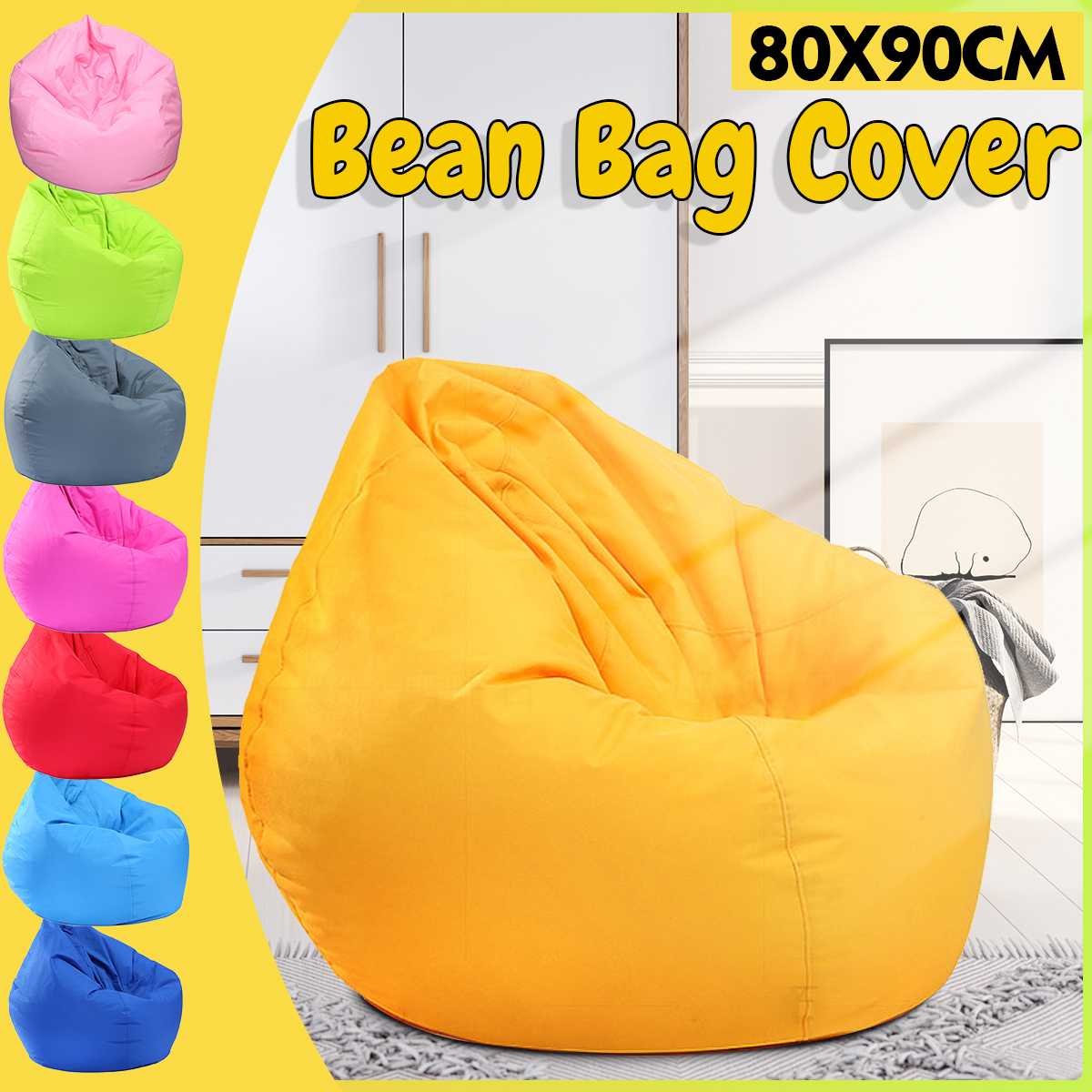 80x90cm New Lazy BeanBag Sofas Cover Chairs Without Filler Linen Cloth Lounger Seat Bean Bag Pouf Puff Couch Tatami Living Room