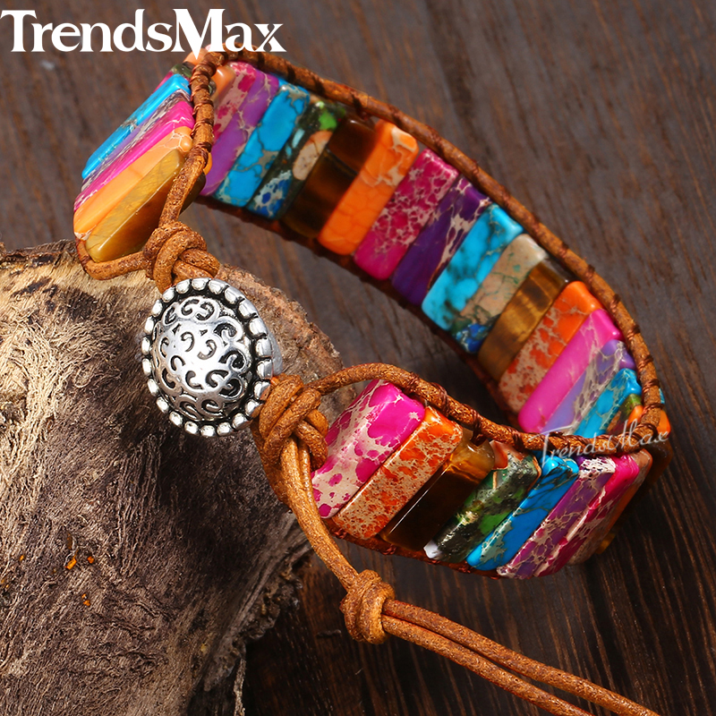 Boho Semi Precious Natural Stone Beaded Bracelets For Women Leather Wrap Bracelet 2018 Dropshipping Unique Jewelry Gifts KDSB01