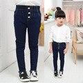 2017 новые девушки высокой талией джинсы тонкий Стретч Узкие Брюки брюки завод прямых детская одежда.