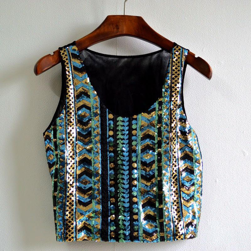 2b88d43c6d0d4e Women Sequin Tops Lady Tanks Sleeveless Bling Vests T-Shirt Tops Tee  Bohemia Style Crop Tops VM