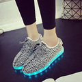 2016 New Fashion Slipony Women Men Tenis Led Shoes With Light Up Glowing Shoes For Adults Luminous Neon Basket Led Shoes